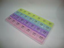 >7 Day Pill Medicine Tablet Box Dispenser Organizer Case Colour 28 compartment<