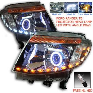 Fit 2011-2015 Ford Ranger T6 Ute Pickup Head Light Head Lamp Led Projector Black