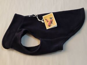 Gooby Fleece Vest Pullover Jacket w/Leash Ring NAVY FOR SMALL BREED DOG