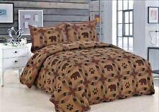Queen Quilt Bedspread Black Bear Wedding Ring Design Set Matching Pillow Shams