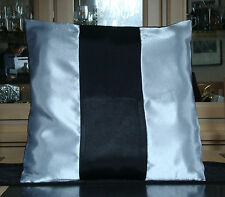 SILVER AND BLACK SATIN CUSHION COVER