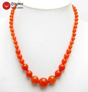 """6-14mm Round Natural China Red Jade Necklace for Women Stone Chokers 17"""" Jewelry"""