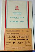 More details for aston villa v dynamo kiev programme +ticket friendly match 13/11/1961 villa park