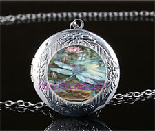 Lotus Dragonfly Photo Cabochon Glass Tibet Silver Locket Pendant Necklace