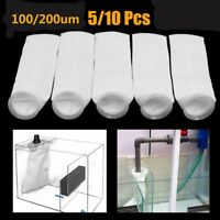 "5/10pcs Filter Sock Bag Ring 4x15"" 100/200 Micron Marine Fish Sump Aquarium Tank"
