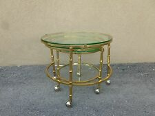 70'S Mid Century Modern Mastercraft Style 3 Tier Swivel Brass Faux Bamboo Table