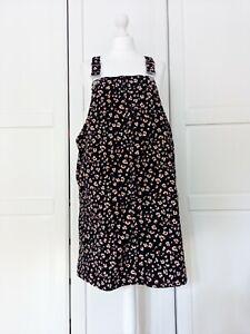 Tu Black Cord Chetah Print Pinafore Dungaree Dress BNWT UK16