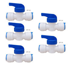 "5 Sets 1/4"" OD Ball Valve Quick Connect Push In to Connect Water Tube Fitting CE"