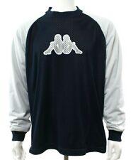 Kappa Men's XXL 2XL Navy White Gray Sports Jersey Shirt Logo Long Sleeve EUC