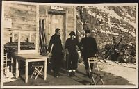 Real Photo RPPC ~ Skiers Near Hut At Top Of Mountain ~ Skiing Sports ~ Europe