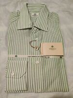 NWT Borrelli Napoli Green And White Striped Dress Shirt 15.5/39 Made In Italy