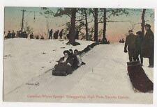 Canadian Winter Sports Tobogganing High Park Toronto Canada 1909 Postcard 420a