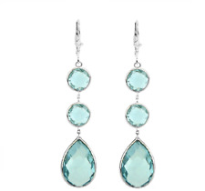 14K White Gold Earrings With Round And Pear Shape Blue Topaz Gemstones