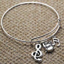 Drums Music Bracelet with drums treble clef and music note charm bangles