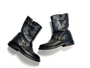 Harley Davidson Womens 7 Vintage 90s Biker Boots Low Shaft Black Leather Buckles