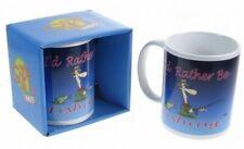 """NOVELTY FUN TEA COFFEE MUG """"I'D RATHER BE FISHING"""" GIFT BOX ANGLER PRESENT"""