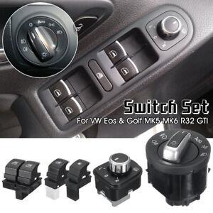 5x For VW Eos Golf R32 GTI MK5 Fuel Headlight Mirror Window Switches Chrome UK