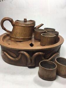 Yixing Pottery 8 pcs Tea Set : Tea Tray, Teapot, Tea cup, Bamboo Design TE25-17