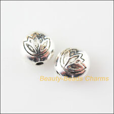 8Pcs Tibetan Silver Tone Round Flat Lotus Flower Spacer Beads Charms 8mm