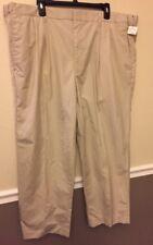 Orvis Tan Khaki Gold Pants 44 Polyester Cotton Mens Pleated Hemmed 08KY
