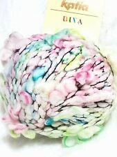 Katia Diva 63% Wool Blend Novelty Poof Yarn 6101 White,Pink,Green,Yellow