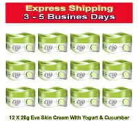 12 X 20g Travel Size Eva Cream Yogurt& Cucumber Oily Skin Face Body Moisturizer