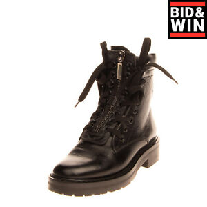RRP€950 SAINT LAURENT WILLIAM Leather Combat Boots EU 37 UK 4 US 7 Made in Italy
