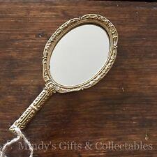 20cm Long Ornate Vintage Style Heavy Gold Framed Metal Hand Held Mirror