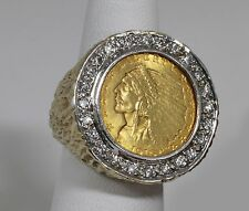 Rare Estate 14k Solid Ring w/ 1910 Quarter Eagle 2.5 Indian Coin & 25 Diamonds