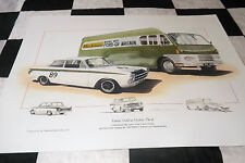 Ford lotus cortina MK1 jim clark & transporter bus 1964 new painting print art +