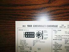 1968 Chevrolet & Chevelle 250 HP 327 CI V8 4BBL SUN Tune Up Chart Great Shape