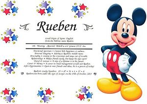 PERSONALISED FIRST NAME ORIGIN MEANING* MICKEY or MINNIE