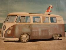VW Kombi - Hand oil painting canvas ART volkswagen van beach surfboard surfing