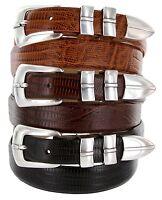"Marin Silver - Italian Calfskin Genuine Leather Designer Dress Belt, 1-1/8"" Wide"