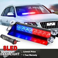 1x 8 LED Veloce Luce Auto Camion Polizia Strobe Dash Emergenza lampeggiante