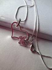 SILVER PLATED OPEN HEART BUTTERFLY PENDANT CHAIN NECKLACE