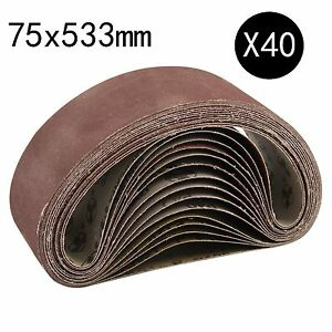 40 x Mixed 40 60 80 120 Grit Sander 75 x 533mm Sanding Belts Sanders Fine Coarse