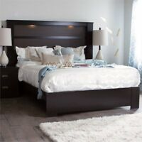 South Shore Gloria Queen Panel Platform Bed with Light in Chocolate