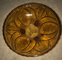 """Vintage Indiana Marigold Carnival Glass Divided Relish Nut Dish Candy Bowl 7.5"""""""