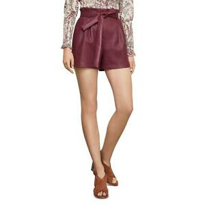BCBGMAXAZRIA Womens Faux Leather Tie Waist Paperbag Shorts BHFO 9389