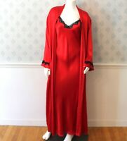 Vintage M.I.C. Red Silk and Black Lace Trimmed Nightgown and Long Sleeve Robe