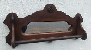 "Antique Victorian Walnut Mirrored Towel Bar 12"" X 24"" X 5"""