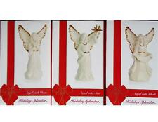 3-pc Mikasa ANGELS PORCELAIN FIGURINES Cloth Dove & Star Ivory 24k Gold HOLIDAY