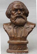 "19"" Germany German Proletariate Leader Copper Bronze Marx Karl Head Bust Statue"