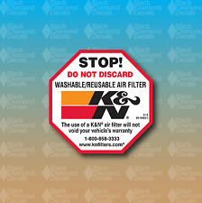 "K&N Stop Do Not Discard Air Filter 2.5"" Warning Custom Vinyl Decal Sticker"