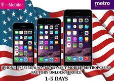 T-MOBILE / METROPCS USA - IPHONE 5/5S/5C/6/6+/6S/6S+/SE FACTORY UNLOCK SERVICE.