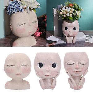Nordic Human Face Vase Flower Pot for Office Micro Landscape Embellishment