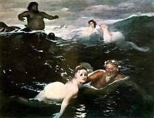 Spiel der Wellen Arnold Böcklin Nixe Meer Poseidon Wassergott Bütten H A3 0081