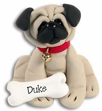 PUG PUPPY DOG Personalized Christmas Ornament Handmade Polymer Clay by Deb & Co.