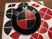 BLACK AND RED CARBON FIBER Complete Set of Vinyl Sticker Overlay All BMW Emblems